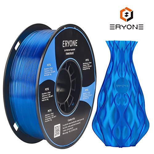 Filament 1.75mm PETG translucent Blue, ERYONE PETG Filament For 3D Printer, 1KG, 1 Spool(translucent Blue)