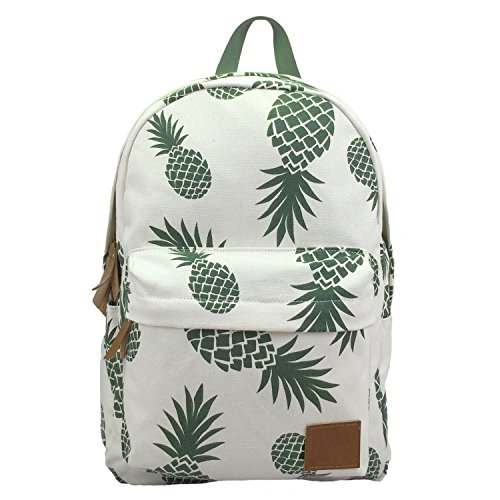 Backpacks Pineapple Women Backpack Cactus Daypack Lightweight Canvas University Bags by AOAKY (White-Pineapple)