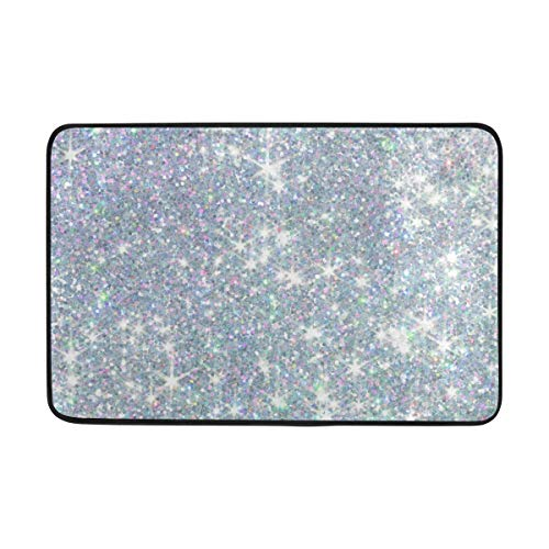 DusaD Stylish Sequins Shiny Glitter Bathroom Rug with Anti Slip Backing, Stylish Memory Foam Bathtub Mat for Shower Room Entryway and Home Kitchen 23.6x15.7 Inch