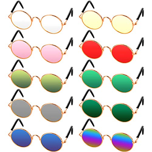 10 Piece Pet Sunglasses Round Metal Pet Sunglasses Classic Retro Pet Sunglasses Cute and Funny Pet Sunglasses Dog Cat Cosplay Party Costume Photo Props