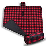 Tirrinia Red Plaid Waterproof Outdoor Blanket with Fleece Lining, Windproof Triple Layers Warm Comfy Foldable for Camping Stadium, Sports, Picnic, Grass, Concerts, Pet, 59''X 80'' - Machine Washable