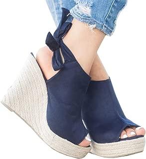 Womens Platform Wedge Sandals High Heel Peep Toe Slingback Ankle Espadrilles