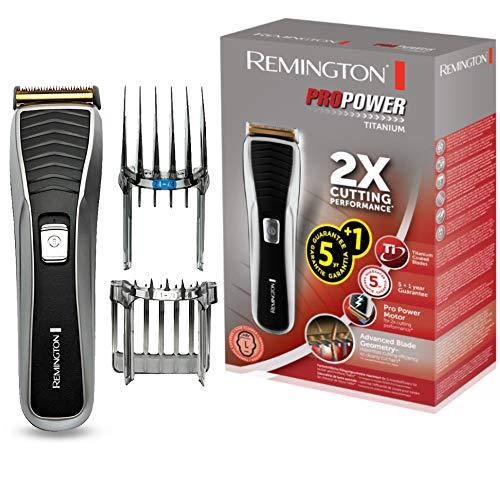 Remington Haarschneidemaschine HC7130 (LED-Ladekontrollanzeige, titanbeschichtete Klingen, 17 Längeneinstellungen + 2 Aufsteckkämme, Netz-/Akkubetrieb) Haarschneider, Haartrimmer ProPower Titanium