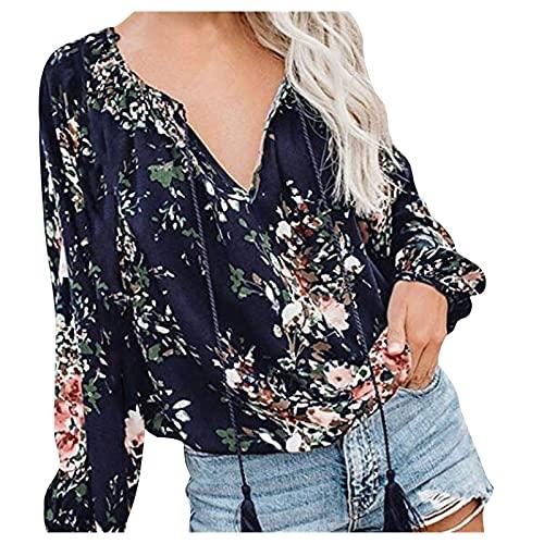Julhold Blusa para mujer camisas otoñales con estampado floral fruncido plisado suelto para mujer con cordones, azul marino, S