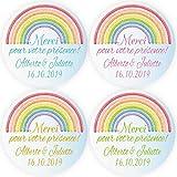 BLOUR DouxArt 100 Pegatinas Personalizadas para Bodas, Merci de Votre Presencia, 4cm arcoíris, Matrimonio, comunión, Bautismo, Etiquetas, Sellos
