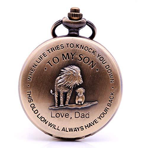 """HLJ Retro Bronze Löwe Taschenuhr Quarz Halskette Kette mit Anhänger """"To My Son Love"""" Design Geschenk für Kinder Jungen"""