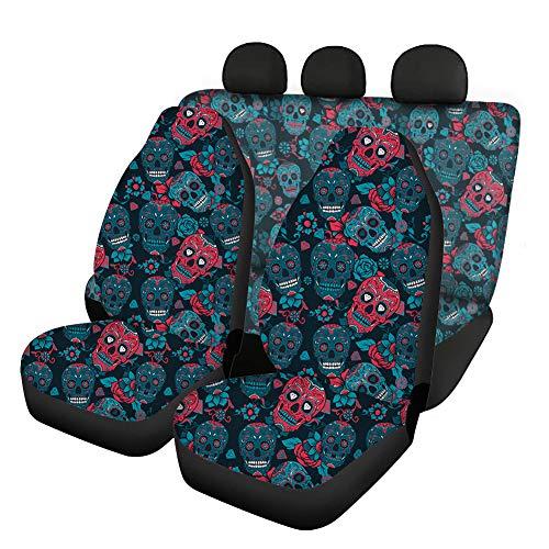 Woisttop Juego completo de 2 fundas para asientos delanteros de coche y 2 fundas de asiento trasero con diseño de calavera, color rojo y azul