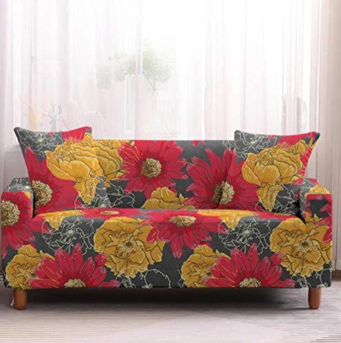 Protector de sofá con Flor roja Amarilla Estampado,Fundas de Sofá Elasticas de 1 Plazas,Poliéster Suave con Funda elástica,Antideslizante Protector Cubierta de Muebles