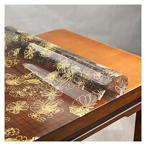 LSSB PVC Protectores De Mesa, Flor De Clip De Oro Negro Translúcido Vidrio Blando Mantel Rectangular Plástico Almohadilla De Escritorio para Mesa De Comedor Gabinete De La TV Oficina