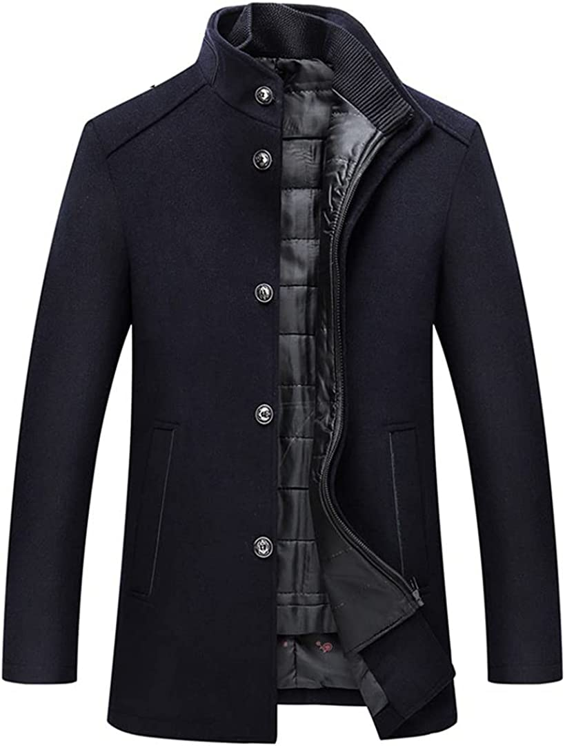 Wool Blend Coat Men Thick Overcoats Topcoat Mens Single Breasted Jackets And Coats With Adjustable Vest Coat