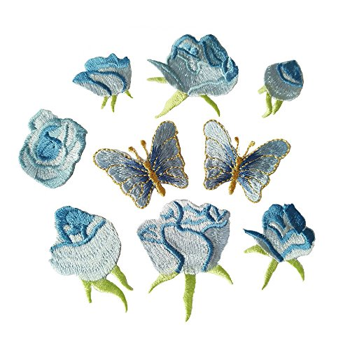 9pcs Blue Small Rose Flower Butterfly Embroidery Iron On Patches(Different dize)