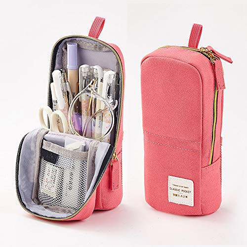 Wangyiqian Mini Backpack Pencil Pen Case Canvas Stand Up Phone Holder Large Capacity Cosmetic Bag Pouch for Girls Boys Adults Teen Pink