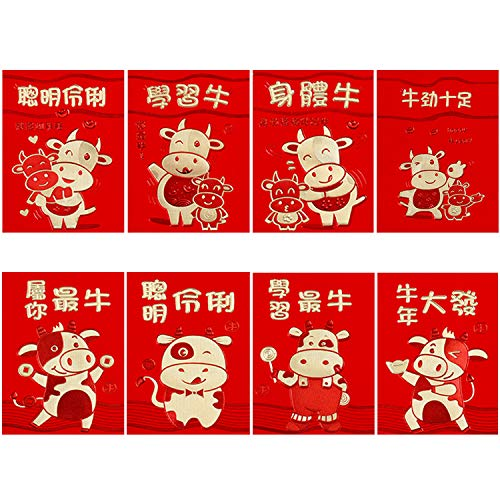 48 Pieces Chinese New Year Red Envelopes 2021 Chinese Red Packets with...