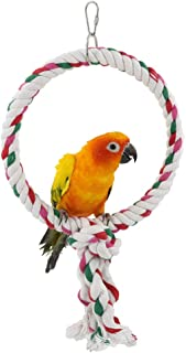 YINGGE Cotton Rope Swing Bird Toys,Circle Ring Parrot Perch Swings Toys for Medium and Large Parrots Sun Conures,Caique Balancing Hanging Standing Pet Toy