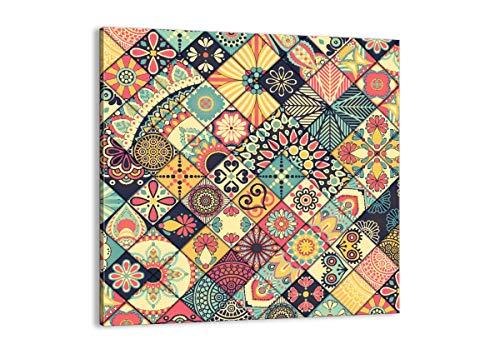 Cuadro sobre lienzo - Impresión de Imagen - flores mosaico - 30x30cm - Imagen Impresión - Cuadros Decoracion - Impresión en lienzo - Cuadros Modernos - Lienzo Decorativo - AC30x30-3815