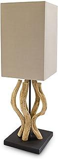Relaxdays Lampe de table Bureau Chevet avec Abat-Jour beige Bois Naturel Marron Clair 56,0 x 22,0 x 22,0 cm, beige / coule...