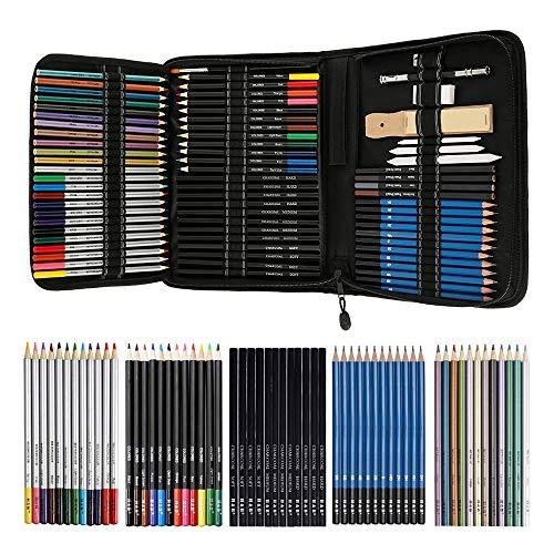 Bleistifte Skizzierstifte Set Zeichenset 72 STK Bleistifte für Skizzieren und Zeichnen Profi Art Werkzeug Set mit Graphitkohlestifte Sticks Werkzeuge und Kit Bag für Anfänger Kinder Künstler