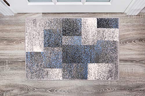 Rugshop Modern Distressed Boxes Area Rug 2′ x 3′ Blue