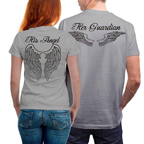VIVAMAKE Camisetas para Parejas Mujer y Hombre Originales Divertidas con Diseño Angel and Guardian Couple T Shirt Gift