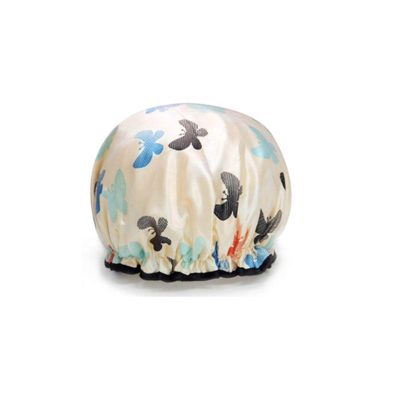 XIONGHAIZI シャワーキャップ、シャワーキャップ防水、大人の女性のシャワーキャップ、二重層シャンプーシャワーキャップ、防塵および発煙防止キッチンフード、高品質、 (Color : A white)