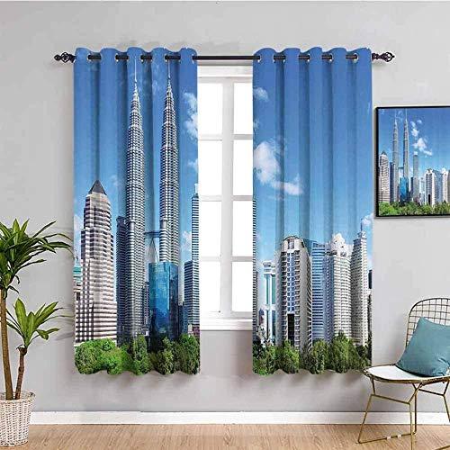 Azbza Tende Oscuranti per Soggiorno - Paesaggio architettura Città Cielo Blu - 90% Oscuranti Termica Isolante Anti- Freddo con Occhielli - L240 x H240 cm - per Camera Finestra Decorazione Moderna