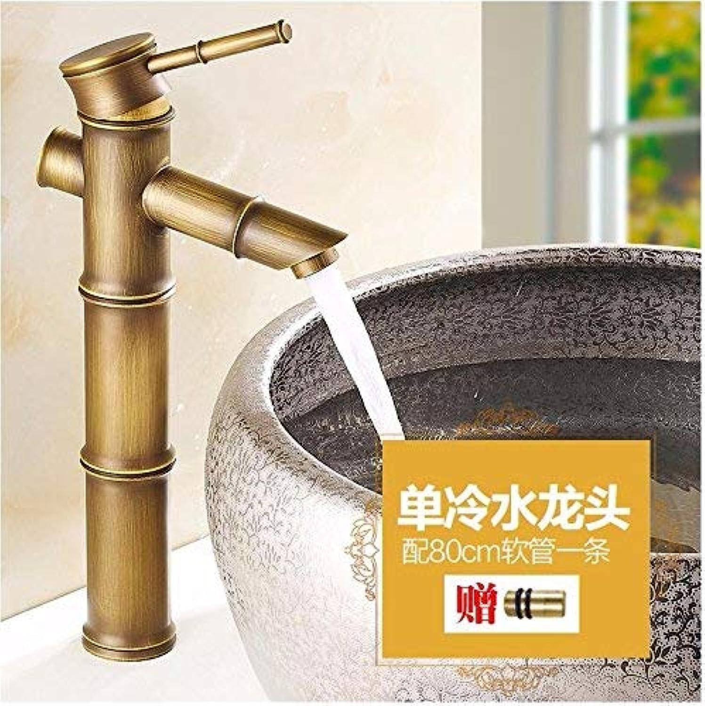 Ywqwdae Waschbecken im europischen Stil Heie und kalte Einlochmontage-Keramik Cold Alone Copper Sink Taps
