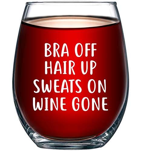 Bra Off Hair Up Sweats On Wine Gone Funny 15oz Wine Glass