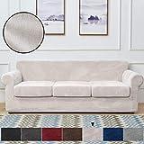 Rose Home Fashion 4 piezas fundas de sofá de terciopelo para 3 plazas, funda de sofá elástica, para sofás de longitud de 68 a 85 pulgadas, color beige