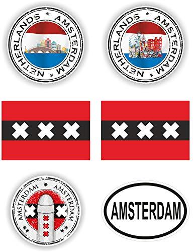 6x Amsterdam Vinyl Waterdichte Stickers - elke sticker is ca. 10 cm