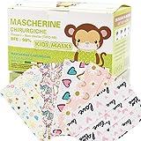 Mascherine Bambini Fantasia Made in Italy Certificata CE, Mascherine per bambini Protezione Nasello Regolabile, Elastico Morbido Resistente Multicolore Cartoon 50 Pezzi Adatto dai 4-12 Anni (F12)