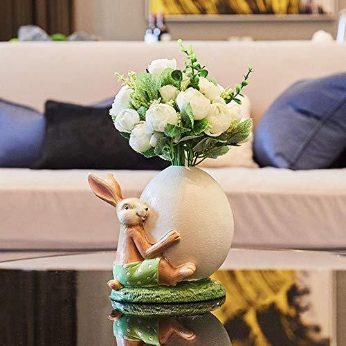 TOSISZ creatieve Scandinavische eenvoudige konijn vaas ornamenten heerlijk hars dier konijn met bloemen fee tuin miniatuur beeldjes huisdecoratie