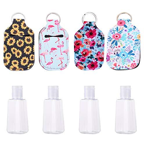 Minkissy 8 frascos para chaveiro, portátil, recipiente de viagem, recarregável, líquido, com porta-chaveiro, para loção líquida