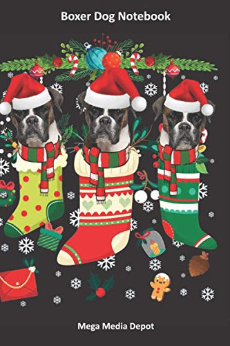 Boxer Dog Notebook - Three Boxers in Christmas Stockings - All Black Cover: Boxer Dog Journal, Boxer Dog Diary