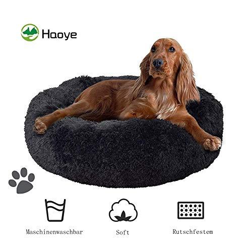 Deep Sleep Hundebett, Maschinenwaschbar, Plüsch Weich, mit Schwamm-rutschfestem Boden, Bieten Kopf- und Nackenstütze, für große und extra-große Hunde - Dunkelgrau Ø 80cm