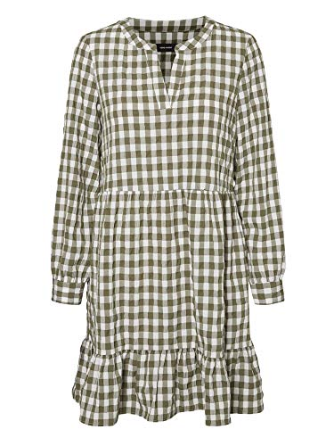 VERO MODA Damen VMKIMI W/L Short Dress WVN Kleid, Snow White/IVY Green, M(30)