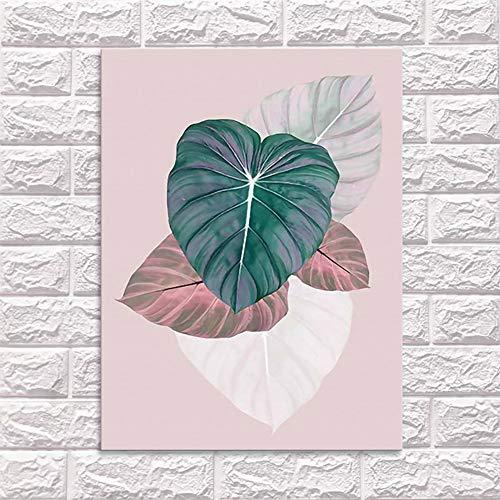 Voor Muurschilderingen, Living Leaf Nordic Posters Bloemen Kunst Aan De Muur Canvas Schilderij Planten Posters En Prenten Schilderij Modern Minimalist,70 * 90