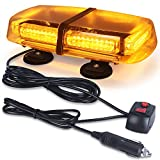 LED Strobe Light, 12V-24V Amber 54 LED Warning Safety Flashing Beacon Lights with 4 Magnet and 16 ft Straight Cord for Vehicle Forklift Truck Tractor Golf Carts UTV Car Bus