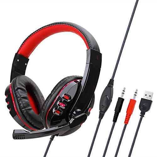 Gamogo SY733MV Auriculares para Juegos con Cable para computadora Auriculares de Juego sobre la Oreja con micrófono AUX + Puerto USB Control de Volumen para PC