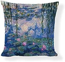 Venus*L Decorative Throw Pillow Covers,Monet Water Lilies,Sunset Ocean BoatSpring,Flower Garden,Japanese Footbridge,One-Side Printed,Cotton Linen,18x18 Inch(45x45cm)