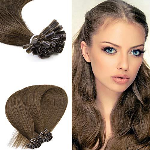 Neitsi 25s/lot 1g/s Dark Brown 100% Remy Human Hair Nail U Tip Hair Extension (16inch, 4#)