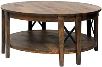 """Crestview Collection CVFNR869 18"""" Black Metal Cross Round Cocktail Table Furniture"""