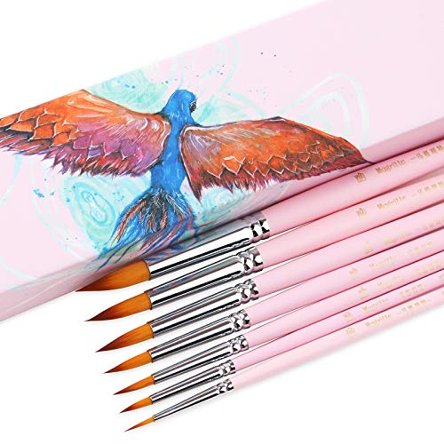 Magritte Round Brushes Synthetic Hair for Watercolor Acrylic Gouache Paint,Professional Brush Set for Artist Teens Adults(Pink)