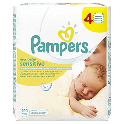 Pampers New Baby Sensitive Reinigungstücher, 4 Packungen mit je 50 Stück (200 Tücher)