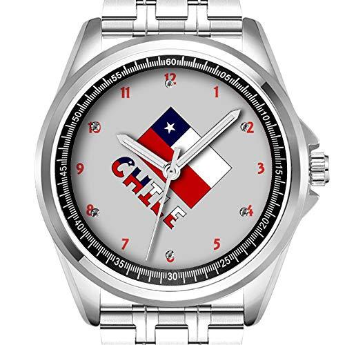Gepersonaliseerde mannen Horloge Mode Waterdichte Horloge Horloge Diamond_302.Chileense Vlag en Chili