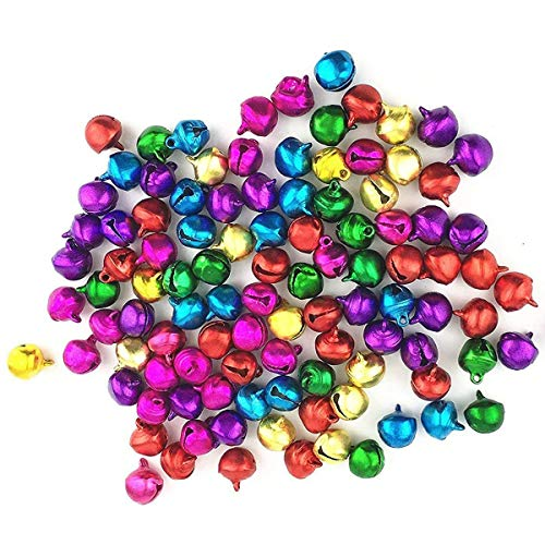 LaVieEnRose 100pcs 6mm For Christmas Copper Made Fashion Jingle Bell/ Small Bell/ Mini Bell for DIY Bracelet Anklets Necklace Knitting/ Jewelry Making Accessories (Random Color)