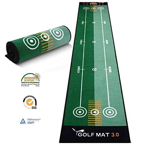 Ulalov Golf Putting Mats, Putting Mats Indoor for Golf, Putting Green Golf Putting Practice Mat Indoor Anti-Slip, and No Odor, for Golf Practice/Golf Game/Golf Gift Large Size(9.84ft x 1.65ft)
