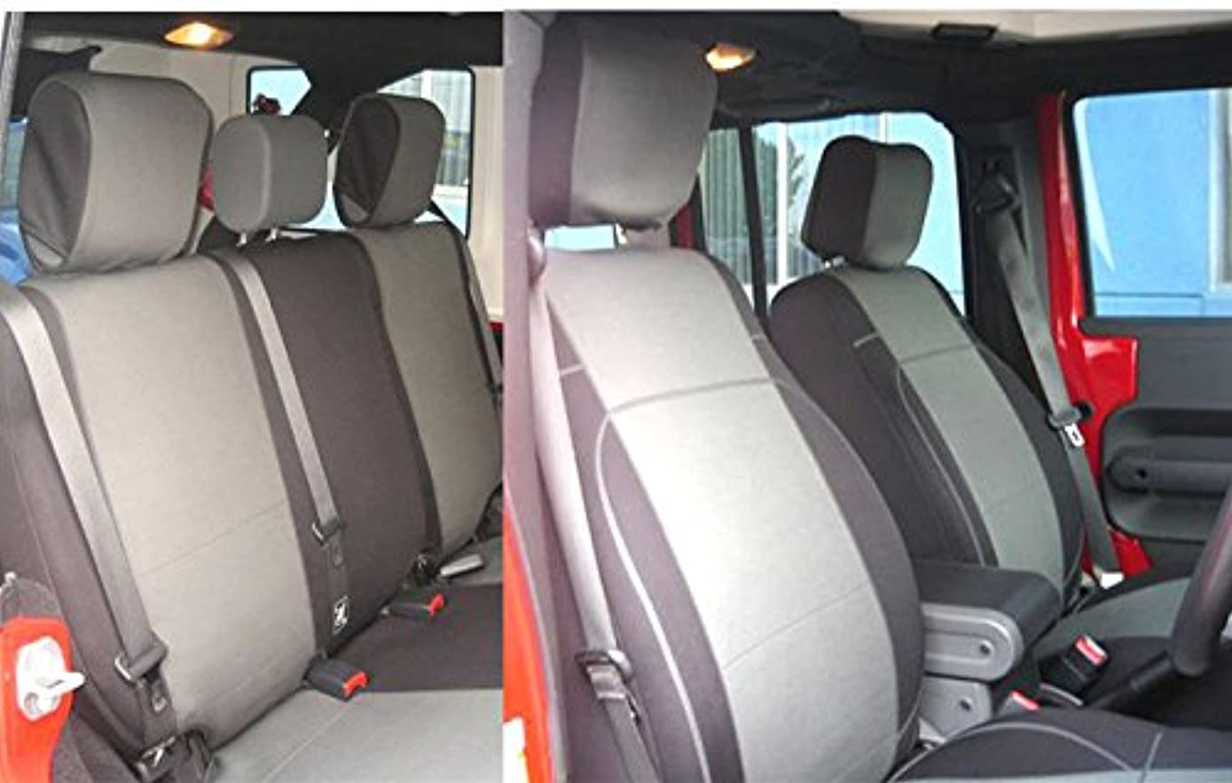 GEARFLAG Neoprene Seat Cover Custom fits Jeep Wrangler JK 2007-17 Unlimited 4 Door Full Set with Side airbag Opening (Front + Rear Seats) (Grey/Black jp)