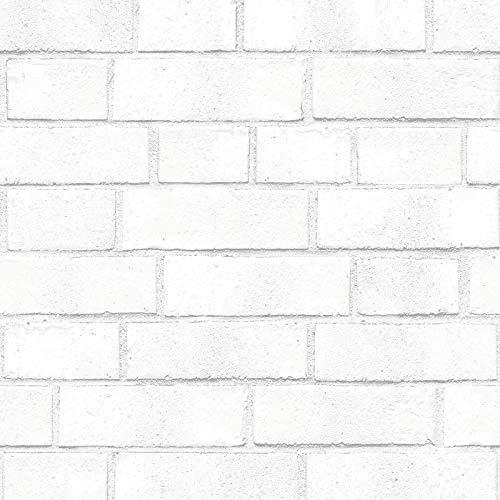 Tempaper BR556 Brick Removable Peel and Stick Wallpaper, 20.5  x 16.5 , White