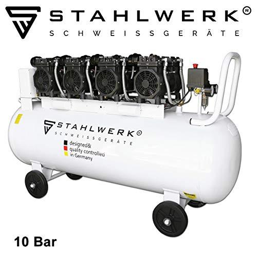 STAHLWERK Druckluft Flüsterkompressor ST 1510 pro - 150 L Kessel, 10 Bar, ölfrei, 840 L/Min, sehr leise, sehr kompakt, weiß, 7 Jahre Garantie*