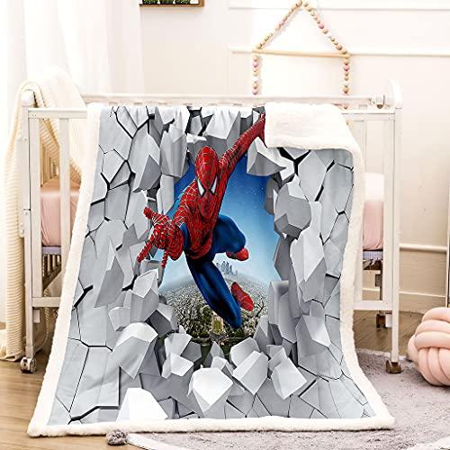 Mantas para Sofás de Franela 3D Spiderman Superman Suave y Cálida Mantas para Cama 130X150 cm, 100% Poliéster Manta de Franela Niños Adultos Four Seasons